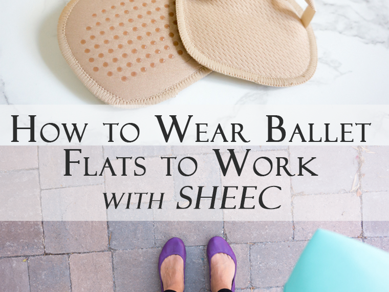 Buying and wearing shoes you love during the workweek is an important step for any busy professional. I put together this practical post of How to Wear Ballet Flats to Work with SHEEC SockShion: Viewpoint from a Healthcare Professional. Petite Professional, comfort, odor control, practical. Pin now and read more later!