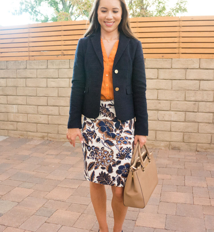 When your workweek needs a pick-me-up, I look forward to bringing color into my petite professional work outfits with colorful pencil skirts. I love Ann Taylor for petite-friendly work floral pencil skirts. Pin now and save for style inspiration later!