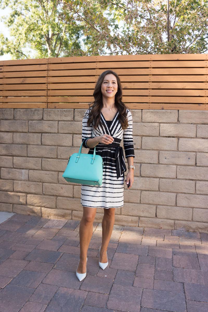 How to wear a wrap dress   BCBG wrap dress   Nordstrom wrap dress review