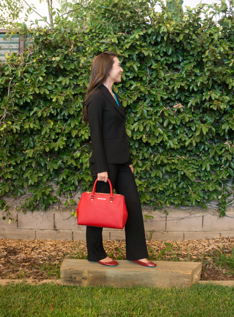 Theory Black Business Suit - You only need ONE black business suit, tips for finding the perfect one for busy petite professionals and how to style a black business suit for interviews. Fit, quality, investment, tailoring reviewed. Theory black business suit. Click to read and pin for later when you interview!
