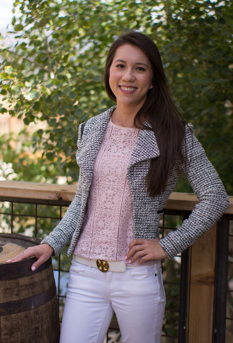 How to Style Banana Republic Tweed Jacket | Petite Style Script