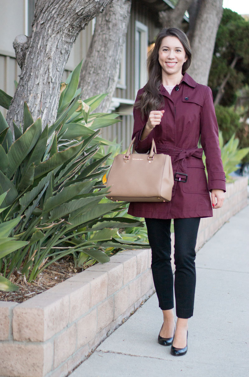 Petite Fashion | Petite Style | Trench Coat Wardrobe Essential Review | Banana Republic burgundy trench coat | J. Crew factory trench coat | 3 Reasons why a trench coat is a wardrobe essential | Finding a petite-friendly trench coat | Click to read more!