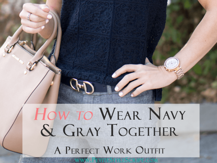 Petite Fashion | Petite Style | How to wear navy & gray together for perfect work outfit | Banana Republic Sloan Slim-Fit Pant | Ann Taylor Lace navy tee | Cole Haan Kelsey navy blue bow pumps heels | Click to read more!