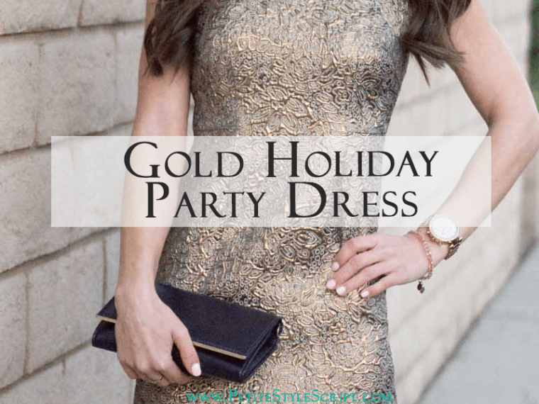 Gold Holiday Party Dress | Easily transition from Christmas, New Year's Eve, Cocktail, Wedding Guest Attire | Ann Taylor, Nordstrom, Bloomingdale's dresses