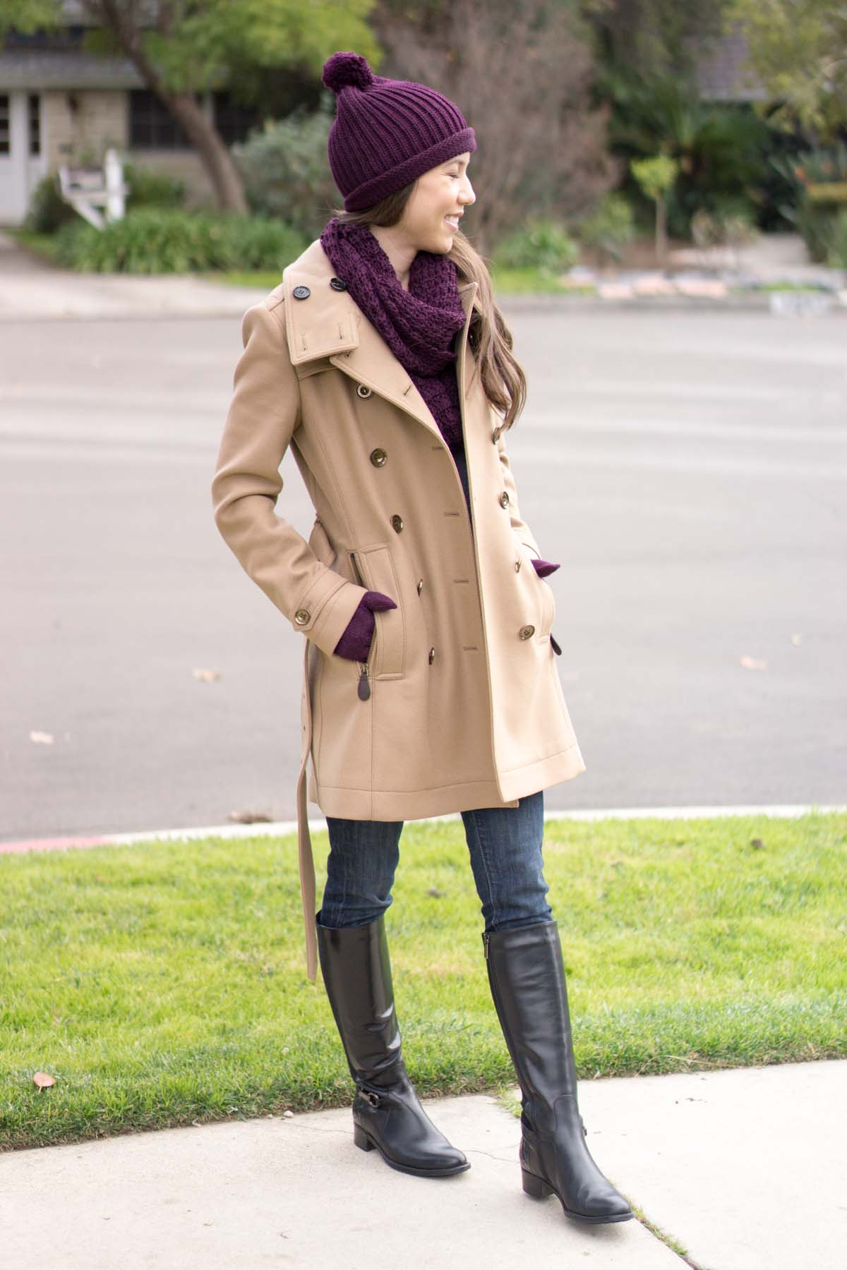 The Company Store Review | Winter Accessories | Baby Alpaca Waffle Knit Hat Gloves Scarf | Burberry Daylesmoore Wool Coat | Ann Taylor Jacket