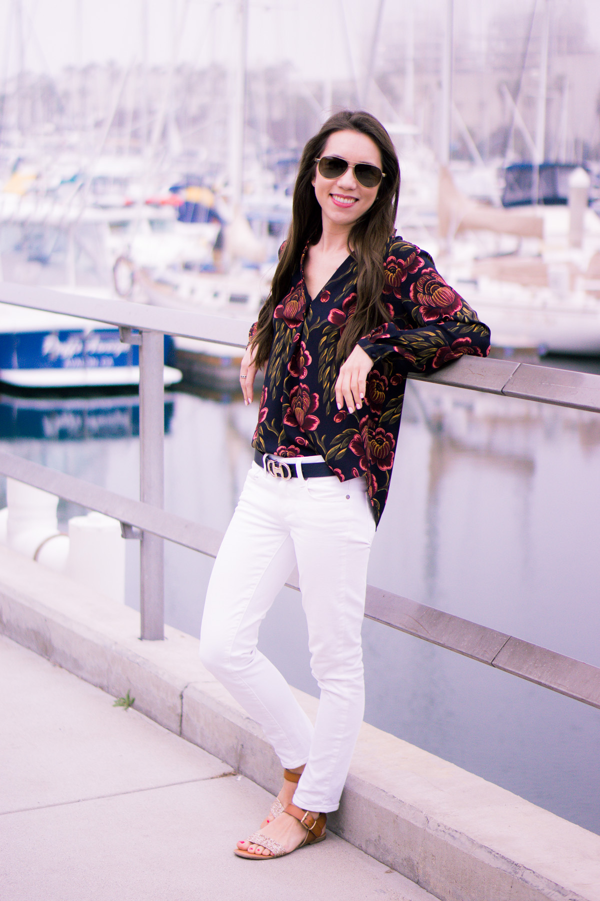 How to wear Spring Florals | Ann Taylor Garden Pleated Petite Blouse | office work date casual outfits| Target Lakitia Sandals | Paige white jeans | J. Crew shorts | Banana Republic Sloan Pants | Talbots horsebit belt clasp | | Tory Burch Chain Wallet