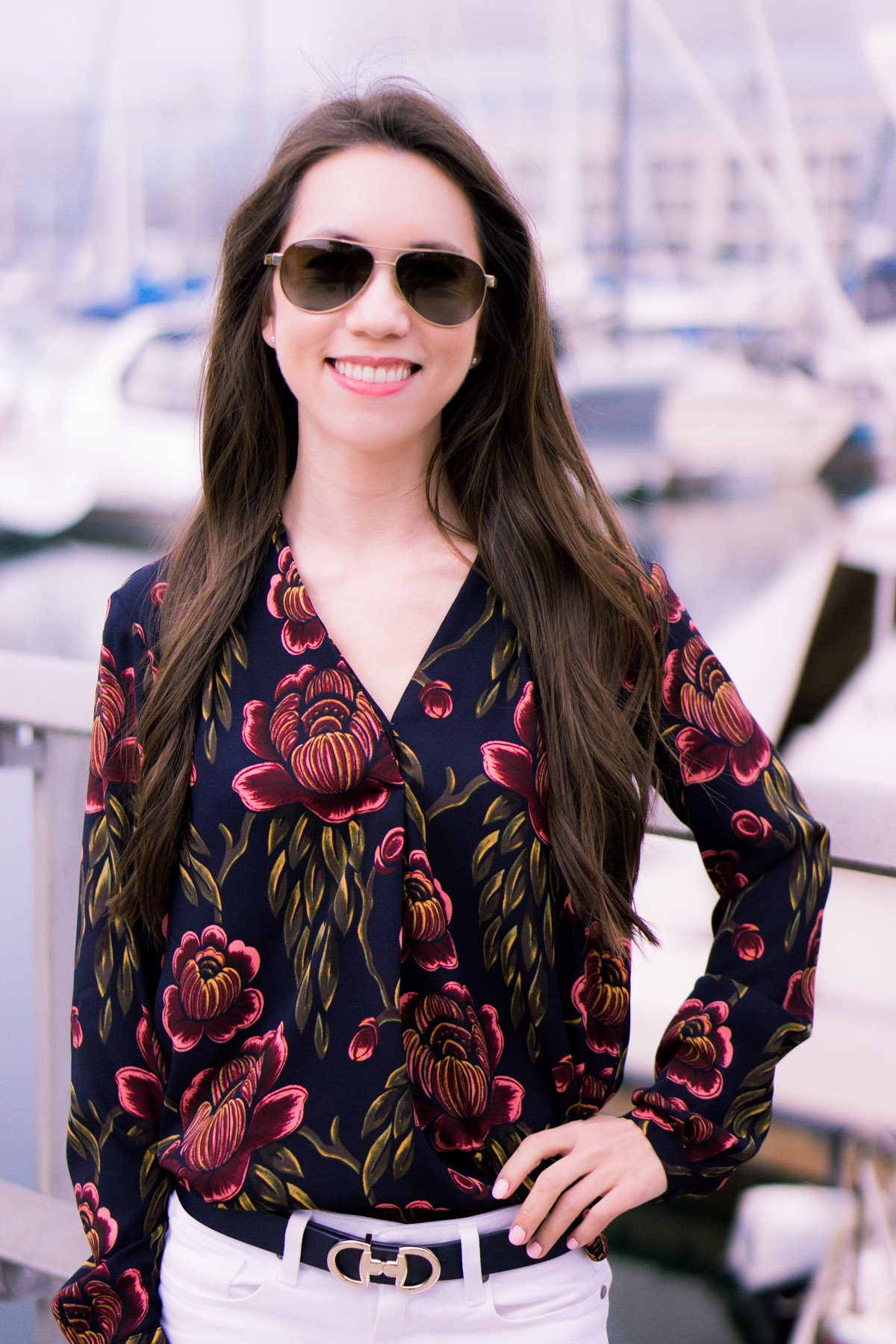 cf8083a18d43ec How to wear Spring Florals | Ann Taylor Garden Pleated Petite Blouse |  office work date