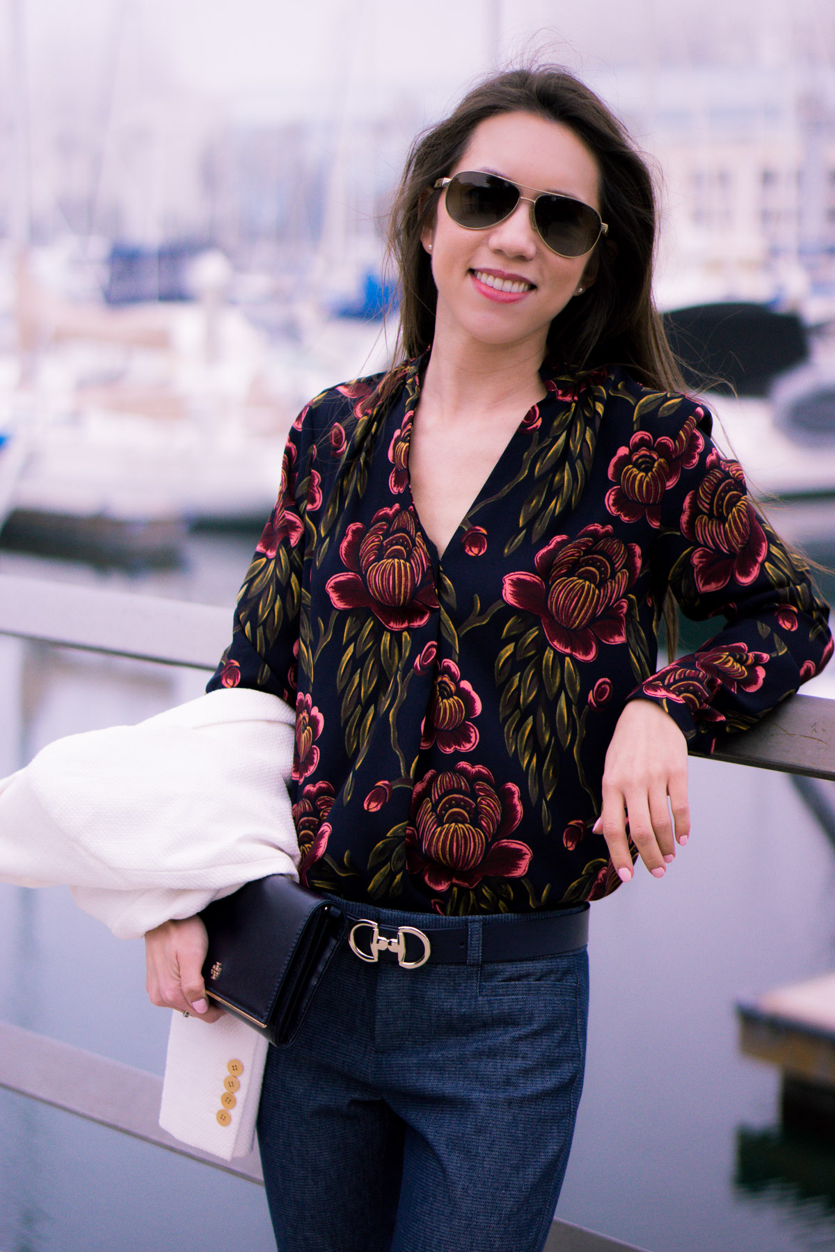 How to wear Spring Florals   Ann Taylor Garden Pleated Petite Blouse   office work date casual outfits  Target Lakitia Sandals   Paige white jeans   J. Crew shorts   Banana Republic Sloan Pants   Talbots horsebit belt clasp     Tory Burch Chain Wallet