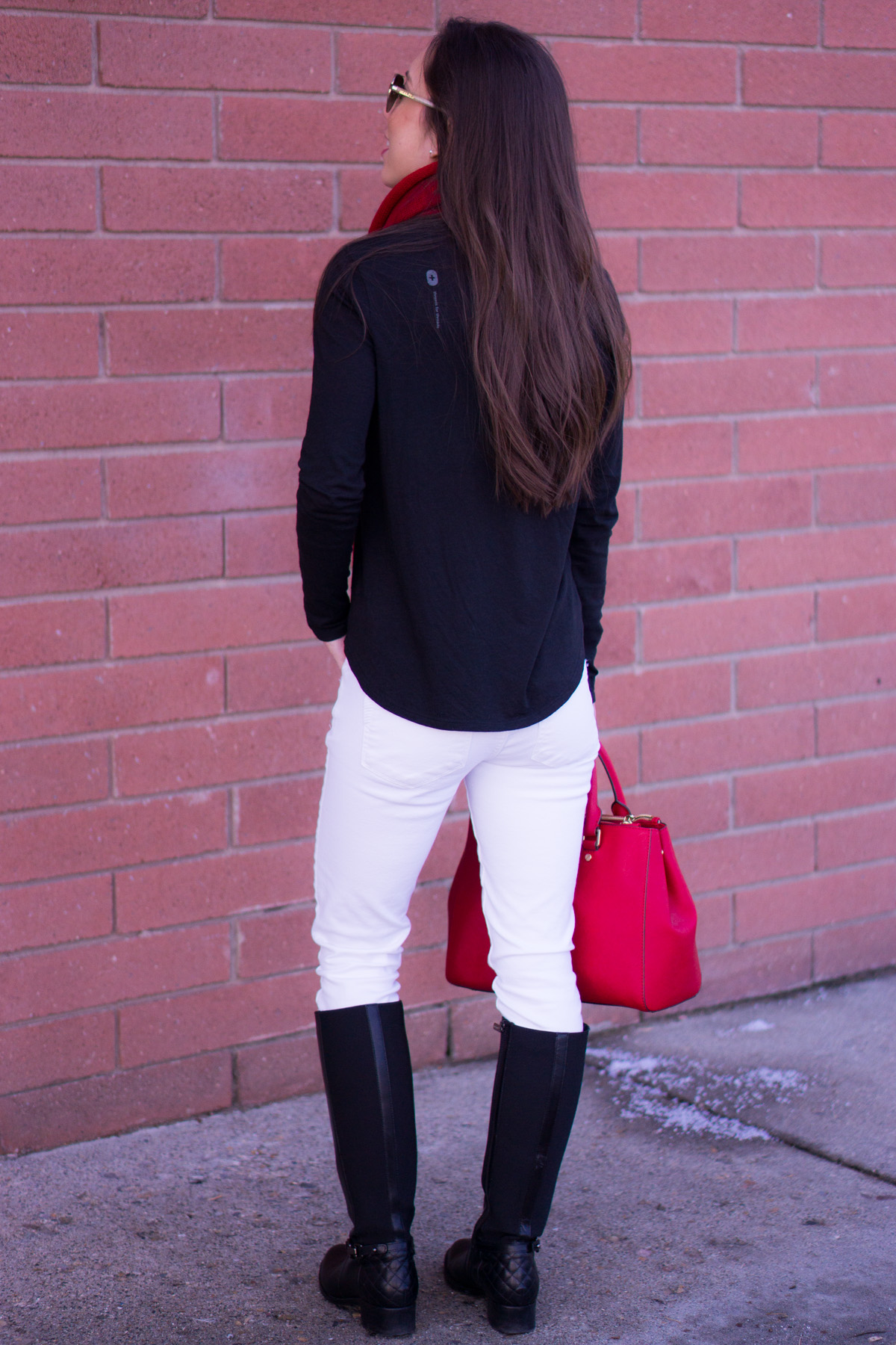 How to Transition into Spring with White Denim | Spring Outfit Ideas| Paige Petite White Denim Jeans | Aquatalia Boots | Talbots Belt | Krochet Kids Scarf