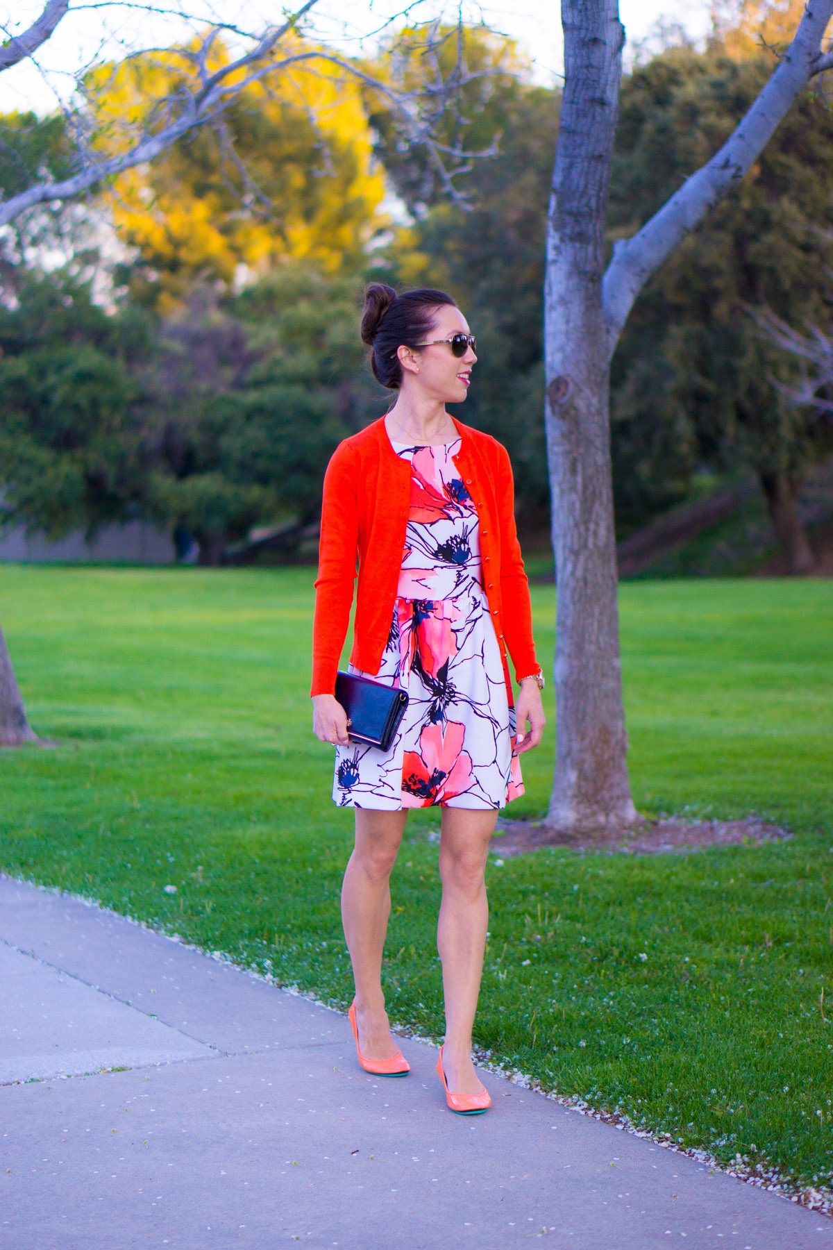 Best Floral Watercolor Dress: Bloomingdale's Aqua Brand Scuba Dress Review | Tieks by Gavrieli Coral Patent Ballet Flats | Target Lakitia Sandals | Banana Republic Factory Cardigan
