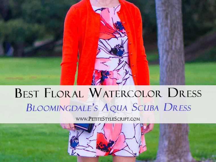 Best Floral Watercolor Dress: Bloomingdale's Aqua Brand Scuba Dress Review | Tieks by Gavrieli Coral Patent Ballet Flats | Target Lakitia Sandals | Banana Republic Factory Cardigan