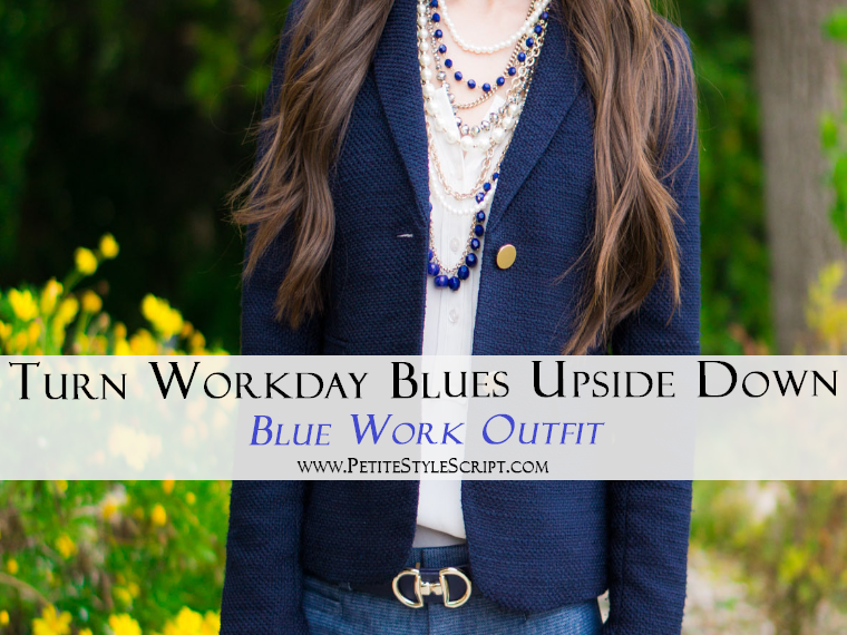 Ann Taylor Pearlized necklace & blazer | Banana Republic Sloan Slim ankle pants | Blue work outfit ideas inspiration | spring corporate attire ideas | Talbots belt | Cole Haan bow heels