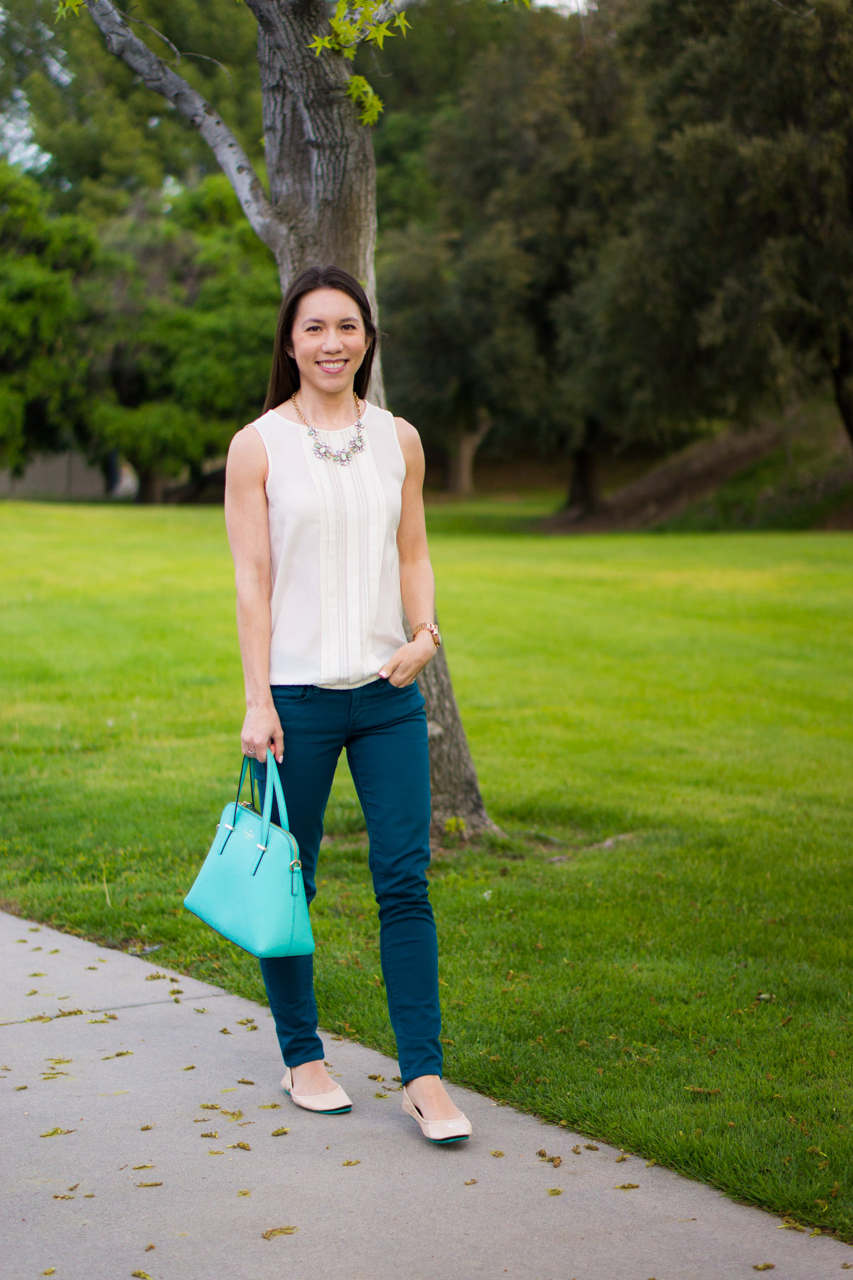 Teal jeans outfit