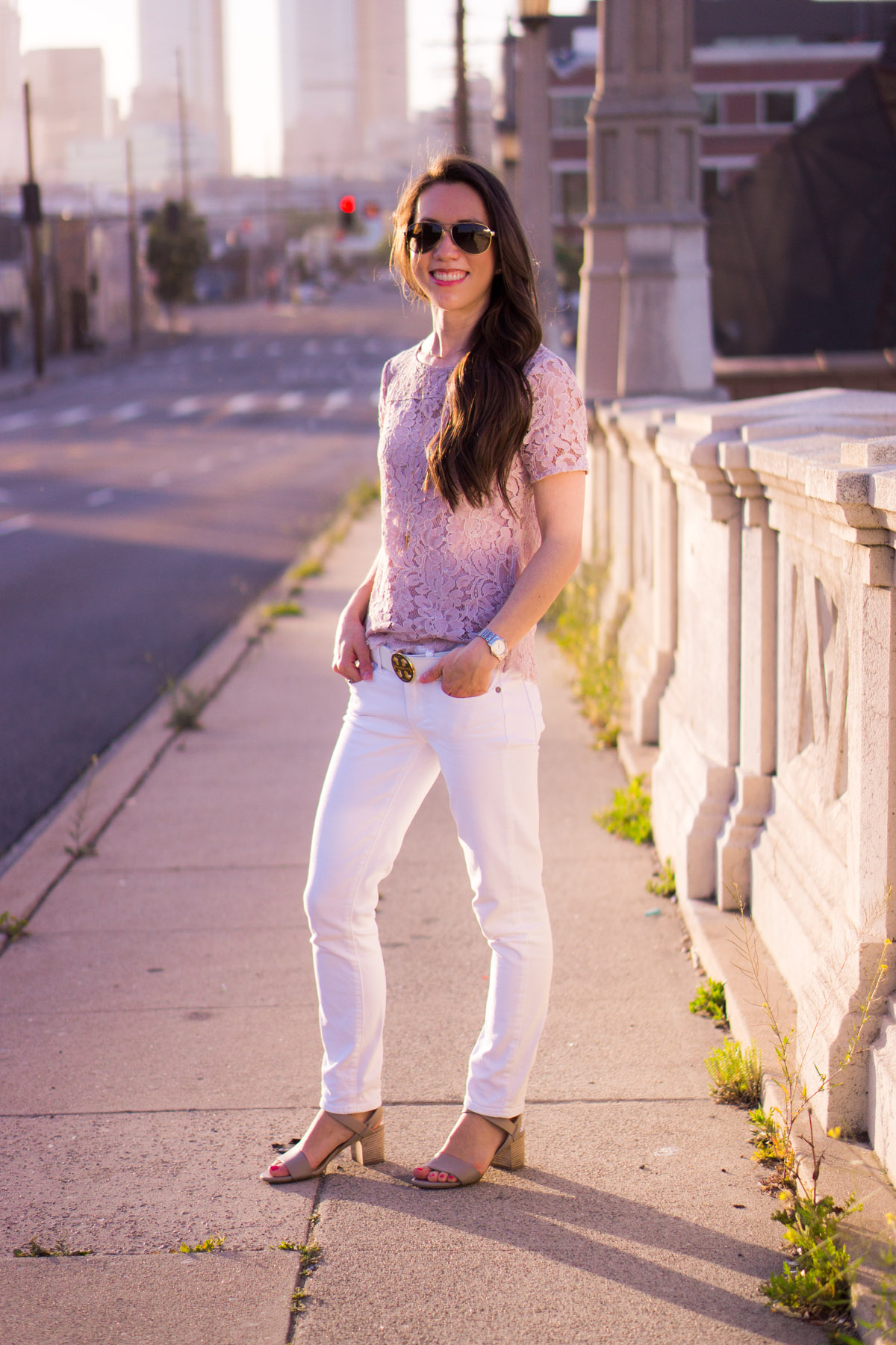 Lace tops are wardrobe essentials | Best Lace Tops | 5 Reasons to Wear Lace Tops | Petite Fashion & style | Why I love lace | Ann Taylor lace tee top | LOFT lace | Loft camisole | clean cami | Tory Burch logo belt | Paige white denim