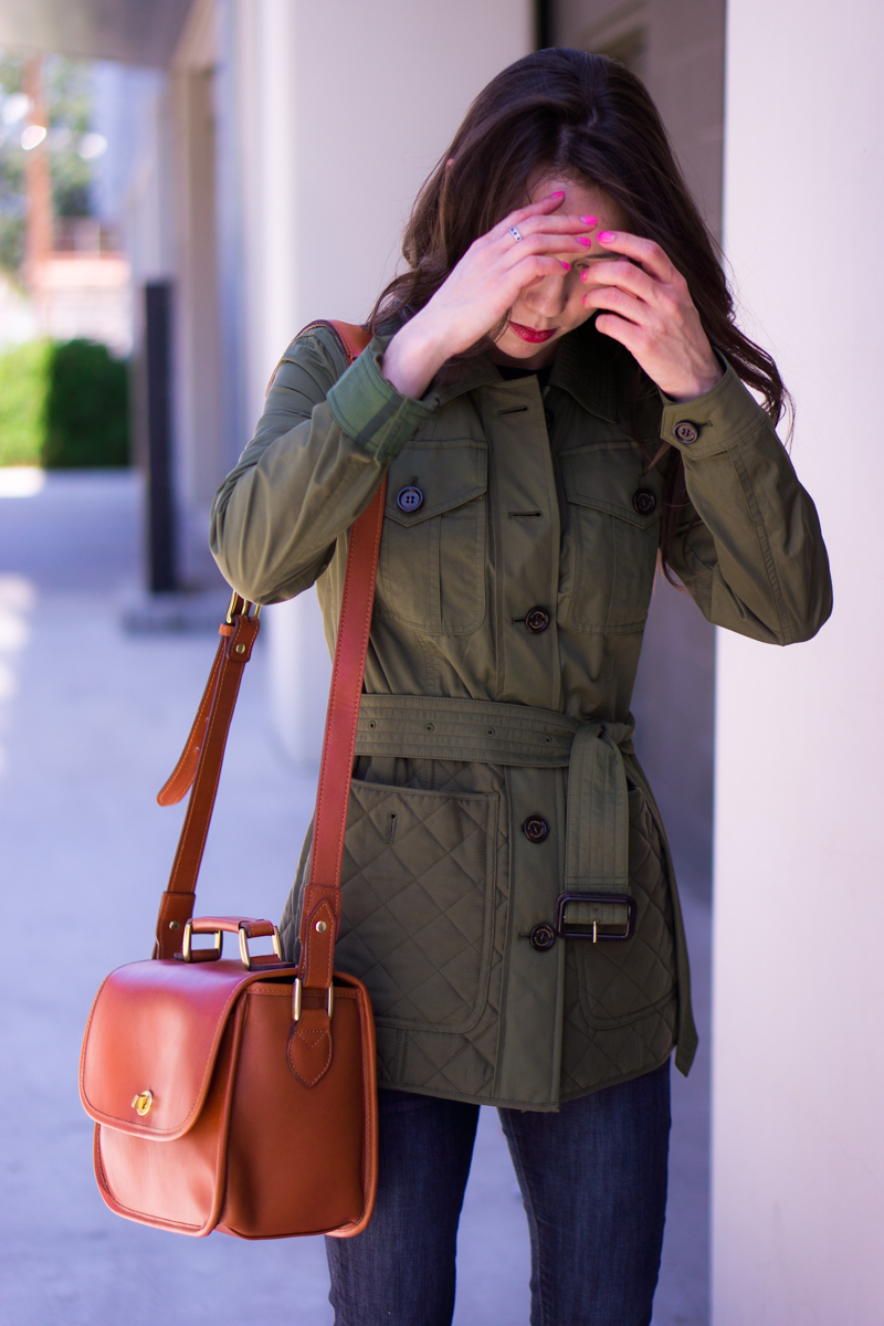 Burberry Whitworth Jacket Review | Bloomingdale's sale petite fashion and style blog | Army green jacket | Military style jacket | ONA palma camera bag | M. Gemi Attorno sandals | Tory Burch reversible belt