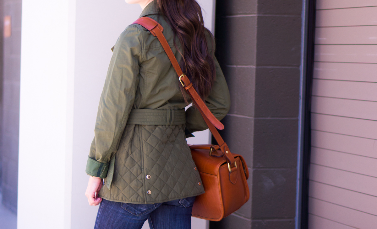 Fall Ready Army Green Jacket Petite Style Script