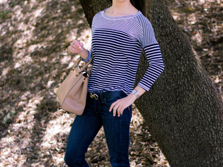 Petite fashion | Petite Style | Easy casual outfit inspiration | Tieks coral patent ballet flats. J. Crew striped tee. Paige denim. Michael Kors Sutton handbag