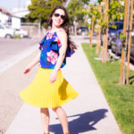 Florals + Yellow | Petite Pleated Skirt