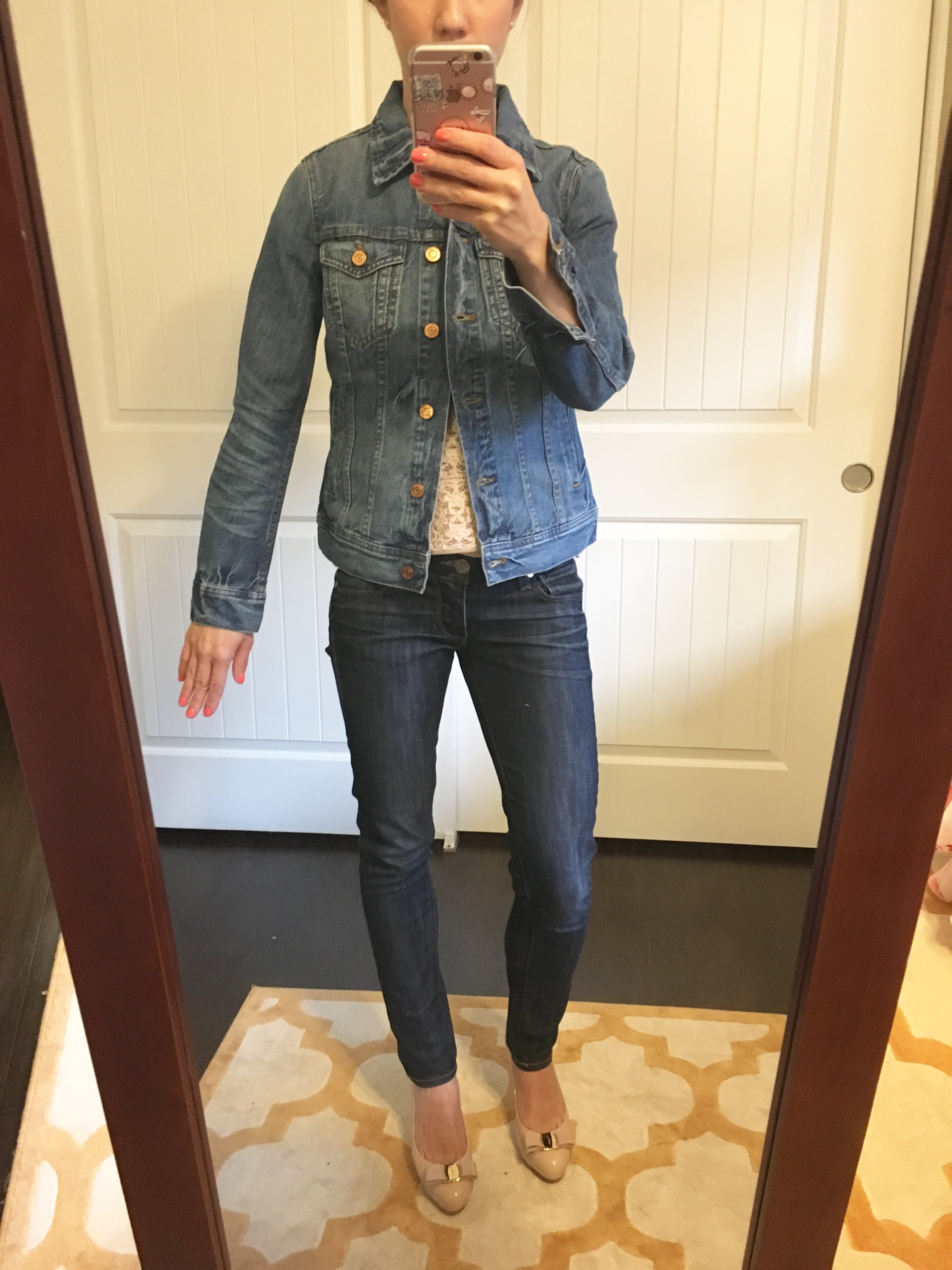 a381ac40708e J. Crew Denim Jacket Review | Mackage Hania Moto Leather Jacket cognac and  pink