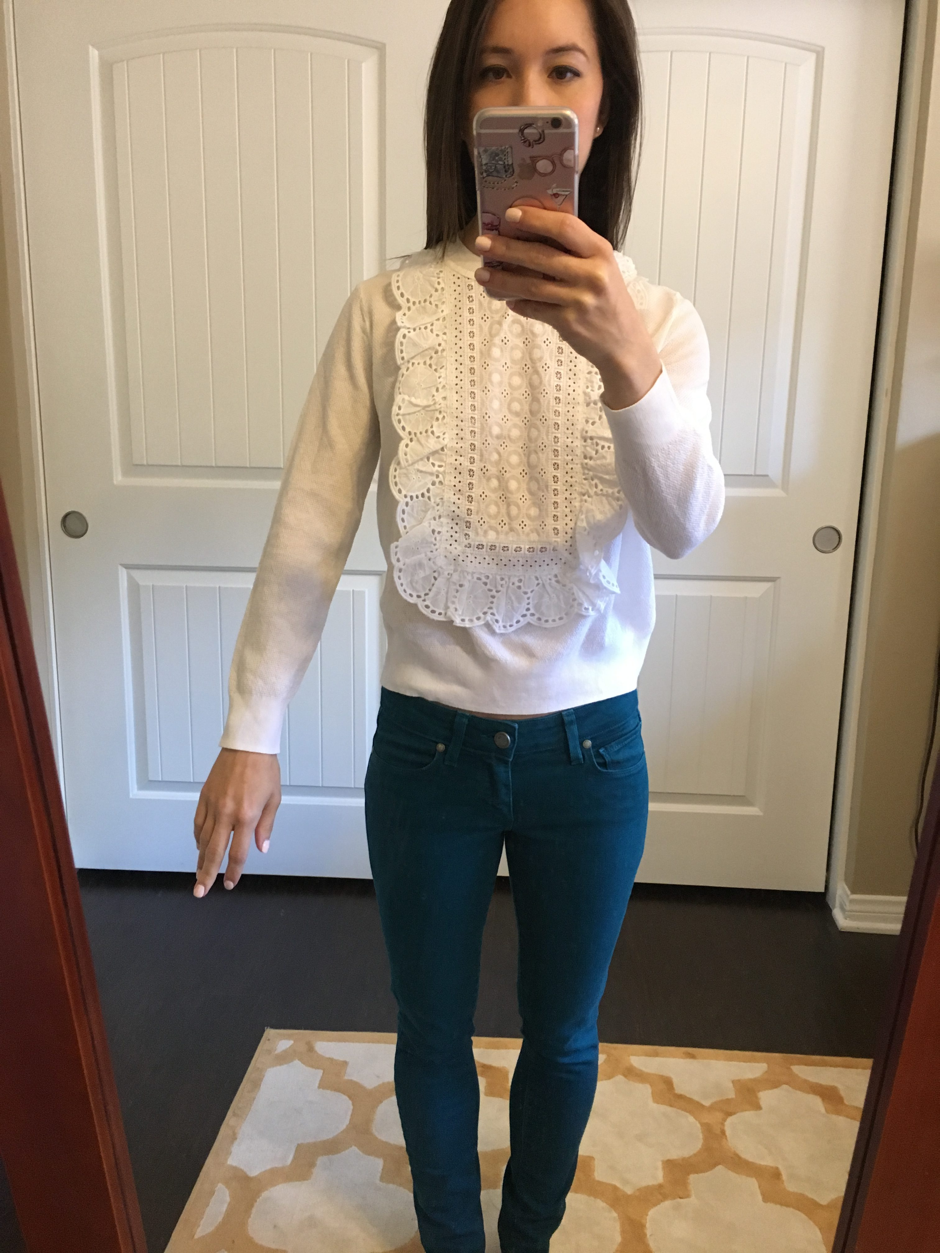 Petite-Style-Script-J-Crew-Eyelet-Sweater-White-Summerweight-Cotton-Review-petite-fashion-style-blog