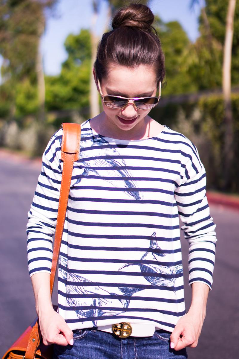J. Crew Whale Shirt | Wildlife Conservation Society | Striped Shirt | Striped whale tee | Giving Back Series and review | ONA camera bag | Tory Burch reversible belt | petite fashion and style