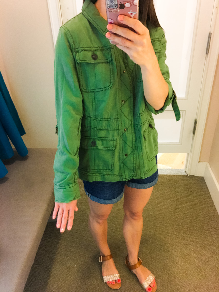 Ann Taylor & LOFT work outfits | Petite friendly fit reviews | Work outfit inspiration | Classic petite fashion and style blog | Devin slim fit ankle pants | Herringbone pants jacket | Orange belted full skirt | cargo field jacket army green