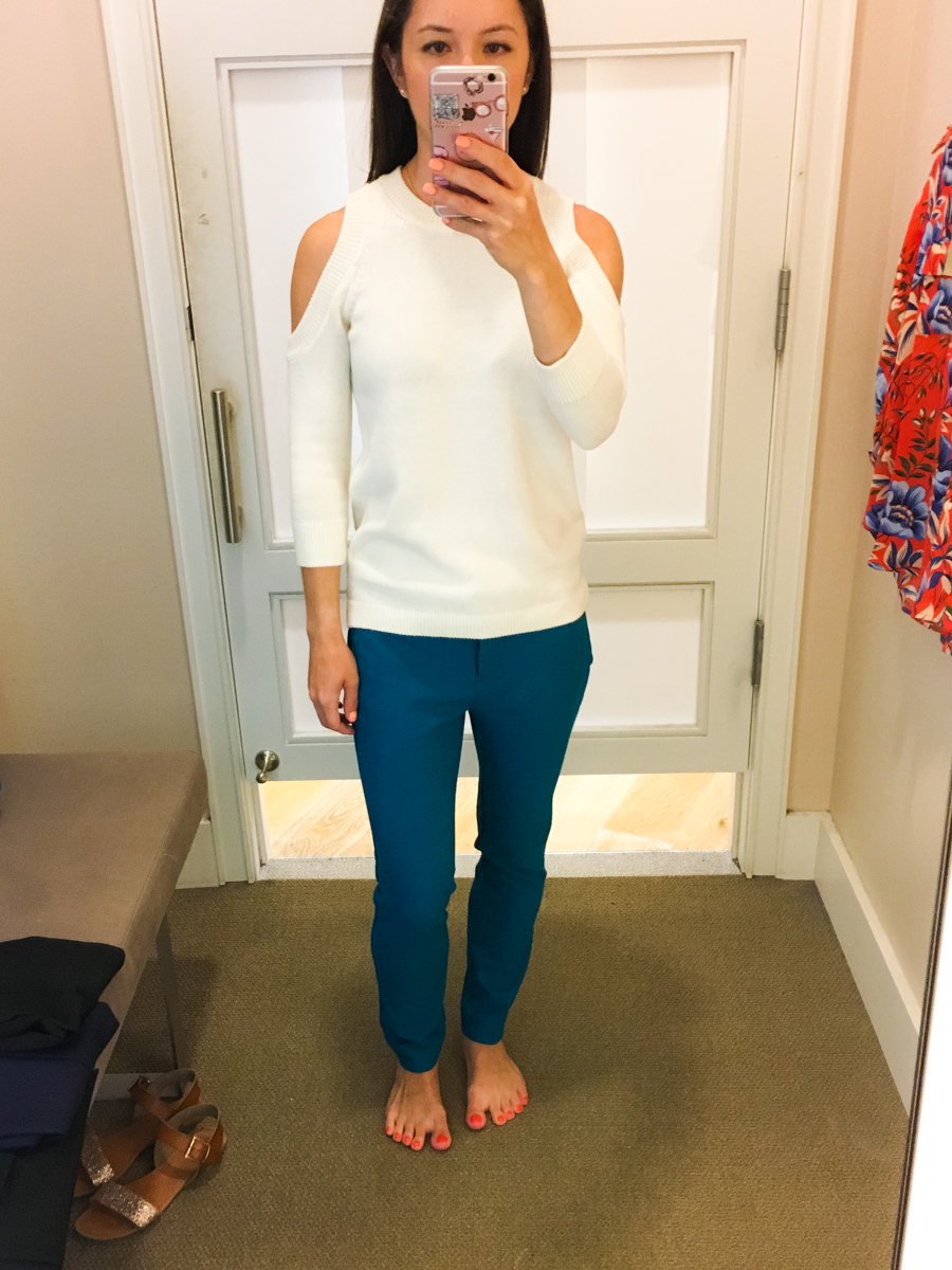 Ann Taylor & LOFT work outfits | Petite friendly fit reviews | Work outfit inspiration | Classic petite fashion and style blog | Devin slim fit ankle pants | Herringbone pants jacket | Orange belted full skirt | Striped poplin cascade top