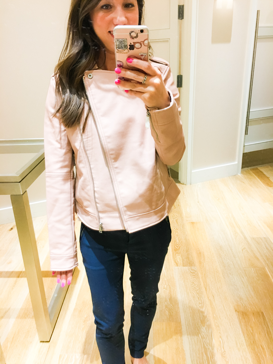 LOFT petite outfit and sale, petite fashion and style blog, pink leather jacket, sweater dress, mozaic print skirt, work outfit inspiration