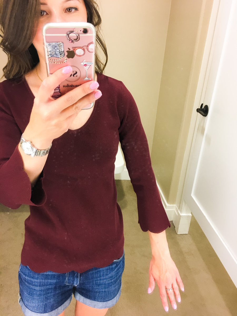 Talbots fall collection review, talbots petite fit, talbots reversible horsebit belt, talbots sweater, talbots parisan style, petite fashion and style blog, #modernclassicstyle scallop top