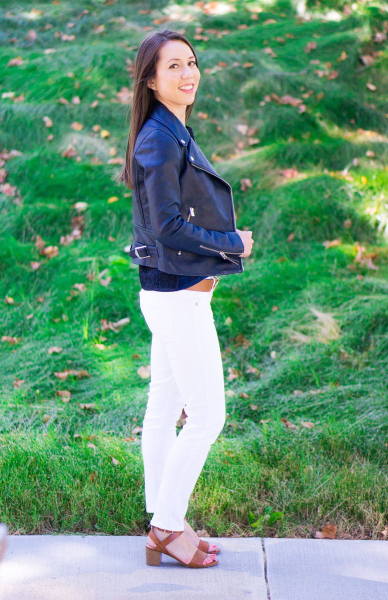 J. Crew Leather Jacket Review   petite style blog   petite fashion blog   Tory Burch reversible belt   Paige jeans white denim   M. Gemi Attorno sandals review   Best woman's leather jacket outerwear