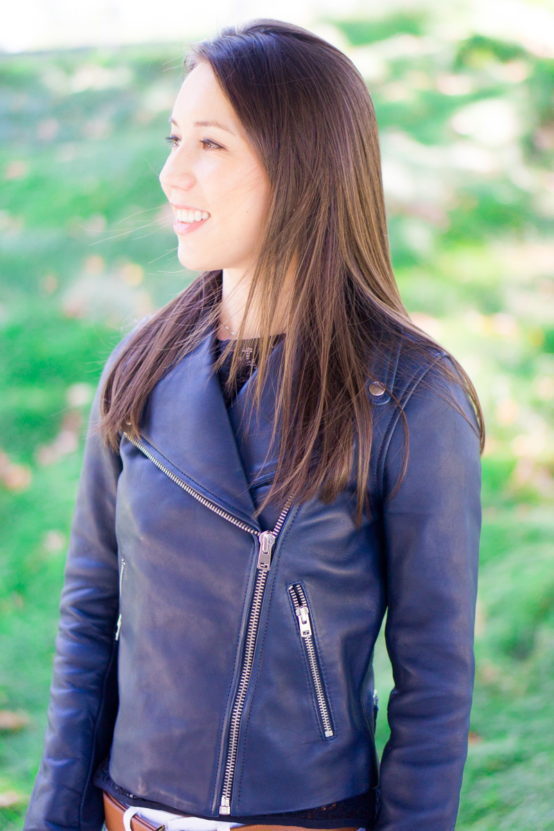 J. Crew Leather Jacket Review | petite style blog | petite fashion blog | Tory Burch reversible belt | Paige jeans white denim | M. Gemi Attorno sandals review | Best woman's leather jacket outerwear