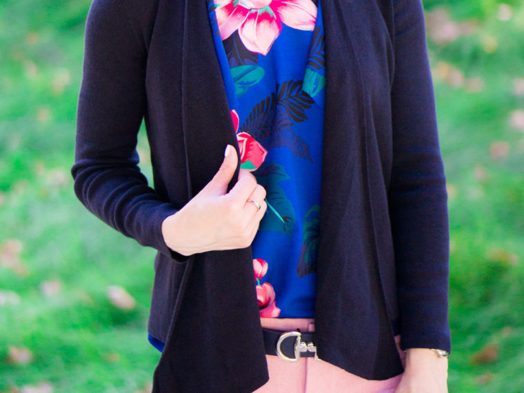 How to Style Summer Florals in Fall, Banana Republic floral ruffle top, floral prints in fall, transition to fall, petite fashion style blog, sloan pants, talbots reversible belt, NIC+ZOE 4-way cardigan, LOFT yellow pleated skirt, paige denim