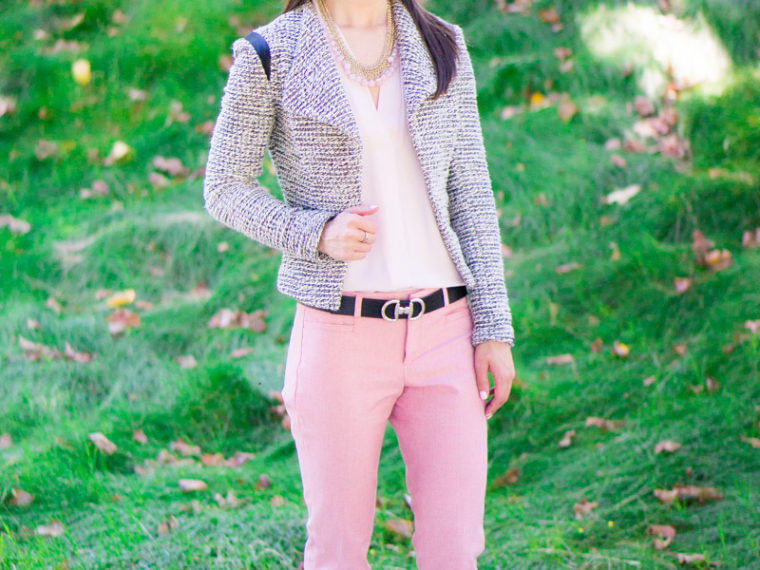 How to transition summer pants to fall | how to wear summer pants in fall, pink pants, Banana Republic Sloan pants, J. Crew denim jacket, NIC+ZOE 4-way cardigan cardy, Ted Baker cardigan, Talbots reversible belt