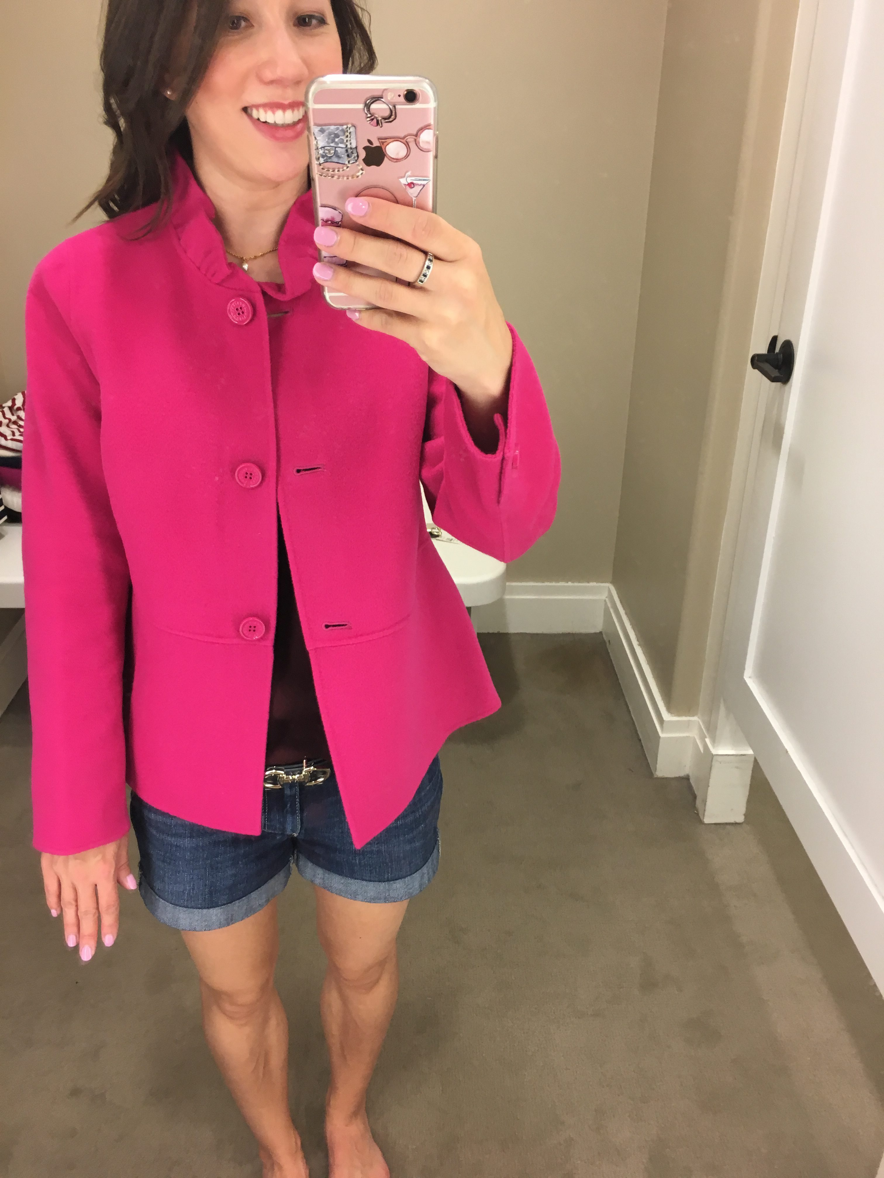 Talbots ruffle collar jacket hot pink color petite fashion and style blog