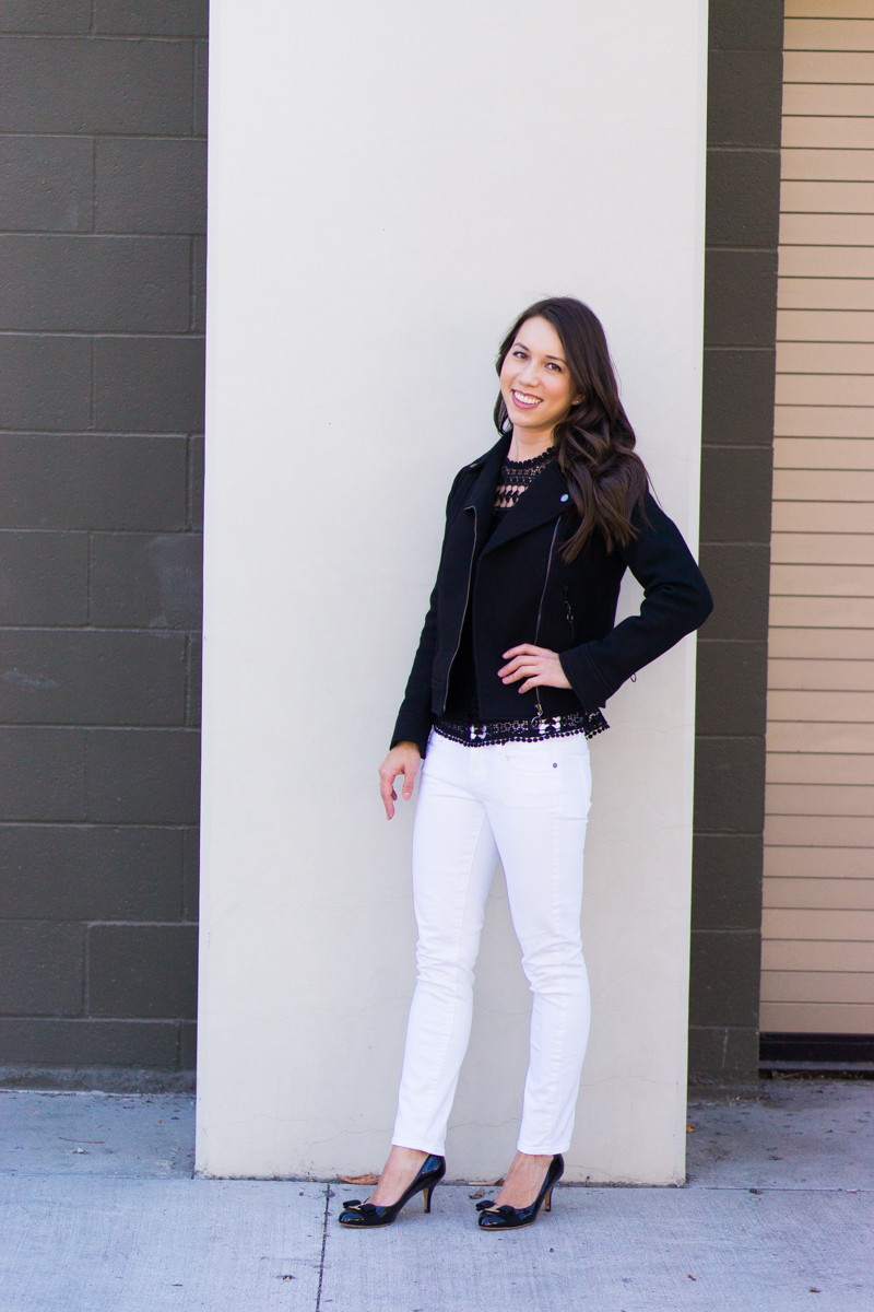 Best Leather Jacket Alternative | Black Twill Moto Jacket Review | Ann Taylor Review | Best Petite Bloggers | Petite Fashion & Style Blog | Black Leather Jacket Review | Bloomingdale's Aqua Lace Dot Top | Paige Denim White Jeans