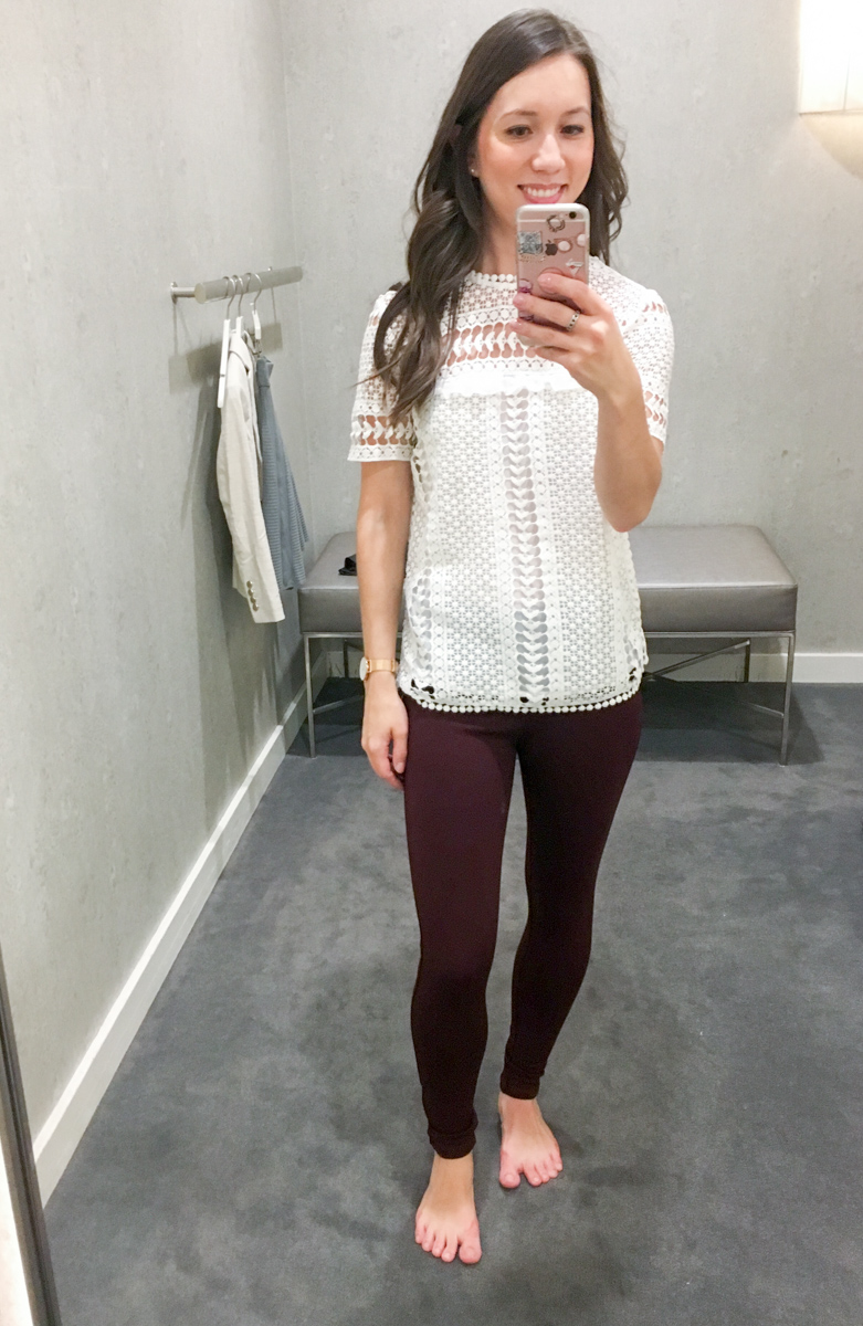 Fit Reviews & Weekend Sales | Ann Taylor, LOFT, WHBM, J. Crew | White House Black Market Leather Flounce Jacket | Ann Taylor LUXE collection leggings, sheath dress, J. Crew mock-neck lace top| Petite fashion and style blog