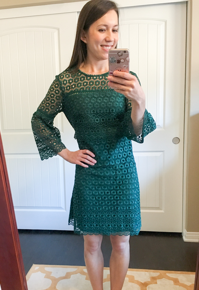J. Crew Daisylace Bell-Sleeve top review | Daisylace pants, daisylace dress, LOFT camisole, Banana Republic Sloan Pants, Tieks ballet flats, sheec socks, Petite fashion and style blog, daisylace dress