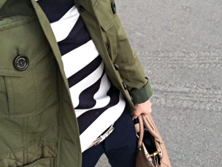Petite Style Script Instagram Outfits #2 | Weekend Sales | Best petite fashion and style blog | FIGS Scrubs Underscrub tee | Cadiz Seamless top | LOFT green blouse | Talbots reversible belt | Aquatalia boots | Burberry whitworth green jacket | Striped tee
