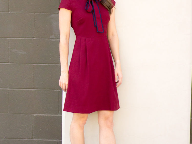 How to style a bow dress | J. Crew tie-neck Italian wool crepe dress review | Petite fashion and style blog | Burgundy dress | Navy dress | Salvatore Ferragamo Carla bow heels reviews