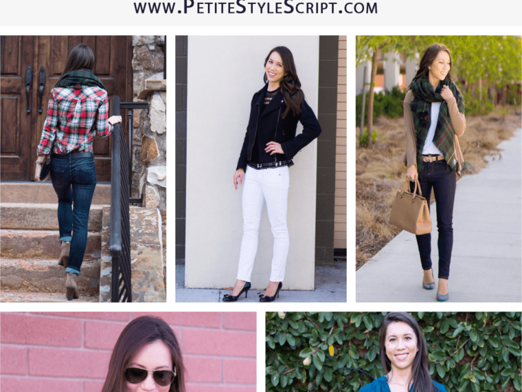 5 Easy Fall Outfit Ideas for Women | 5 go-to fall outfits | casual outfits | business casual outfits | Best petite fashion and style blog | FIGS scrubs underscrub tee longsleeve | Sole Society plaid scarf | Vince Camuto ankle booties | Flare Skirt | Talbots reversible belt | Bobeau fleece cardigan