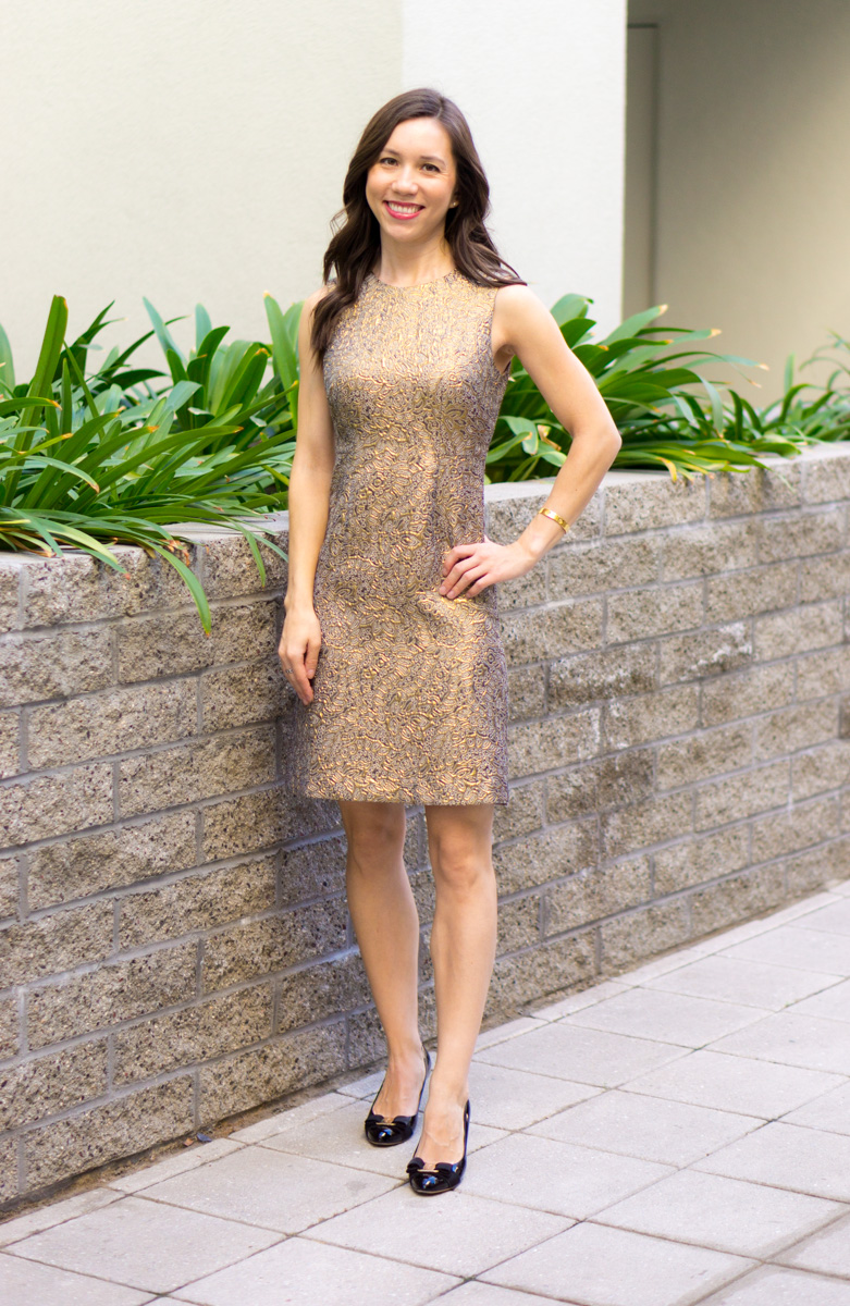 How to dress for holiday parties | Easy holiday dress looks | Holiday party outfit inspiration | Women's dresses | Petite fashion and style blog | Talbots sheath dress | Ann Taylor gold shimmer dress | Bloomingdale's Aqua Lace Dot Dress | Red bow heels | Ferragamo black bow heels