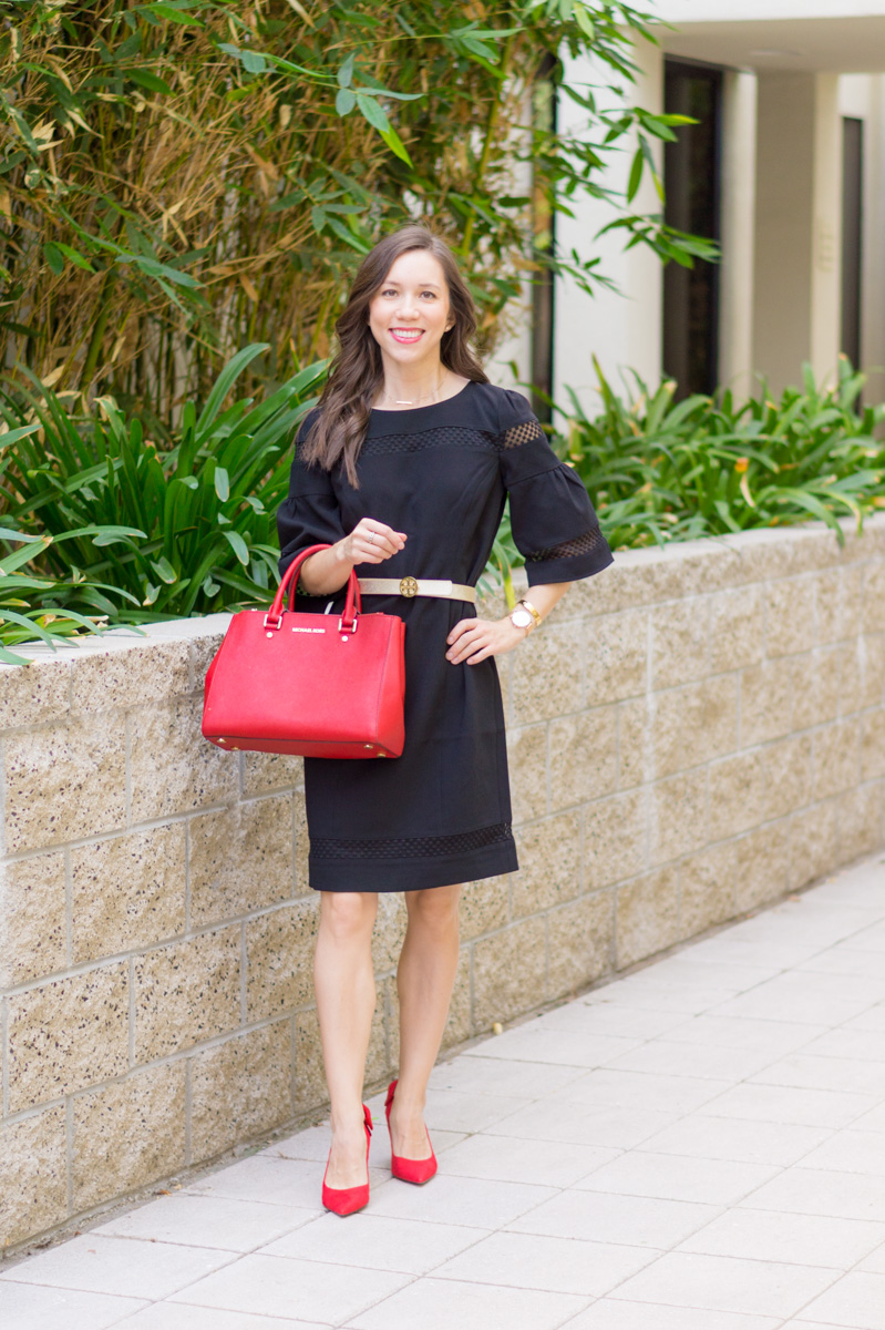 3 Ways to Style a Sheath Dress | Talbots RSVP Occasion Review | Talbots Erica Back Bow Heels | Red Bow Pumps | Flounce Sleeve Crepe Sheath Dress | Holiday party outfit ideas | Christmas New Year's Eve | Tory Burch gold belt | Pearl statement necklace