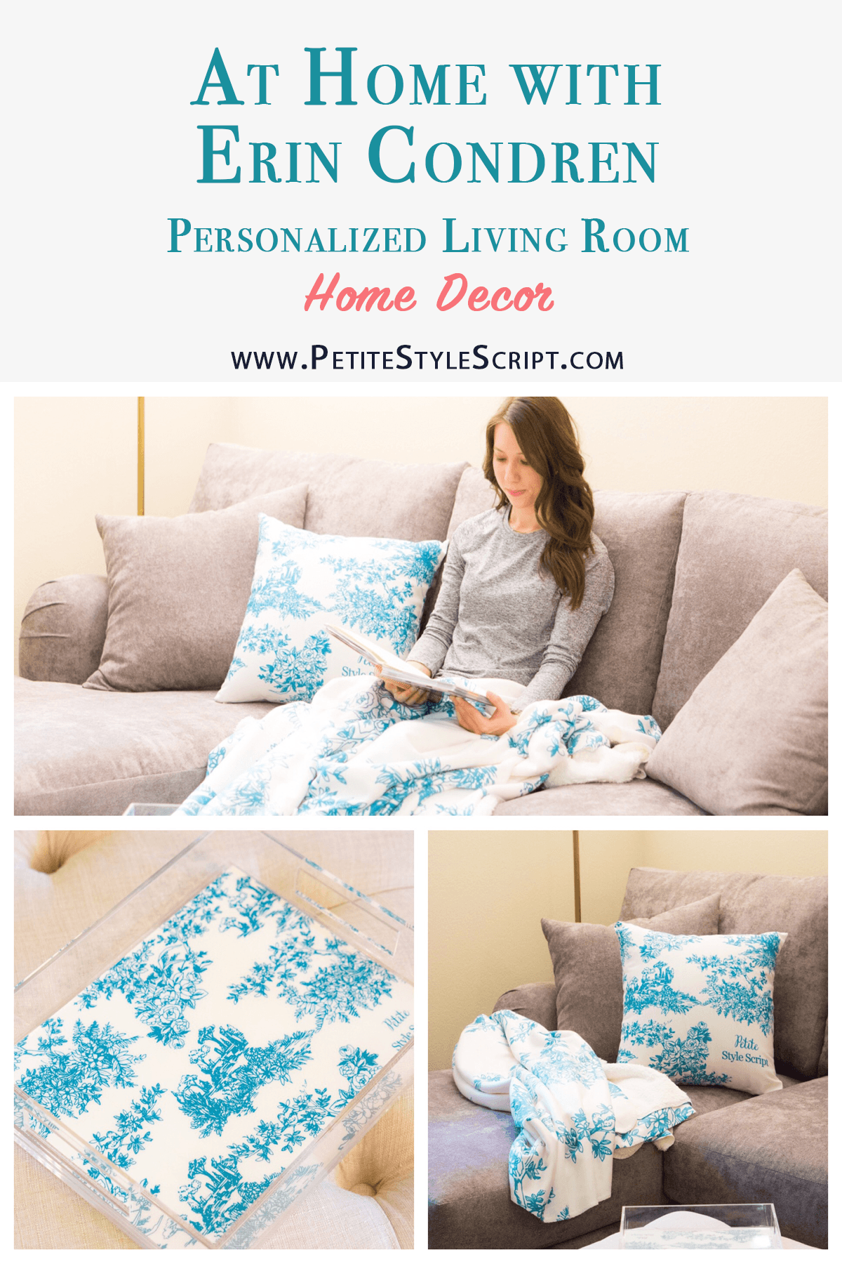 Erin Condren Home Décor Review | Sherpa throw review | Throw accent pillow | Toile y'all design print | Acrylic tray and insert | Teal green and gray living room décor and color scheme | Best throw blanket | Best trays for living room ottoman and bar cart | peacock green