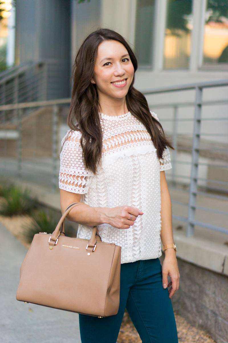 Outfit Inspiration with 4 easy Thanksgiving outfit ideas for women. Petite fashion and style blog. Casual Thanksgiving, Dressed up Thanksgiving dinner. Wrap dress, Sweater flare skirt, Bloomingdale's Aqua Lace Top, Paige colored denim, FIGS Rafaela Mandarin-Collar Top Review.
