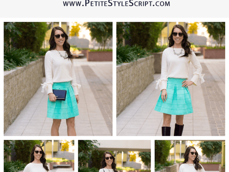 Holiday Outfit Ideas   5 outfit ideas casual to formal holiday celebrations   Christmas Day outfit   Mint green flare skirt   Talbots tie-cuff boatneck sweater bow sweater review   Talbots Hermes horsebit belt   opaque tights   Anthropologie green jeans   LOFT burgundy corduroy pants   petite fashion and style blog