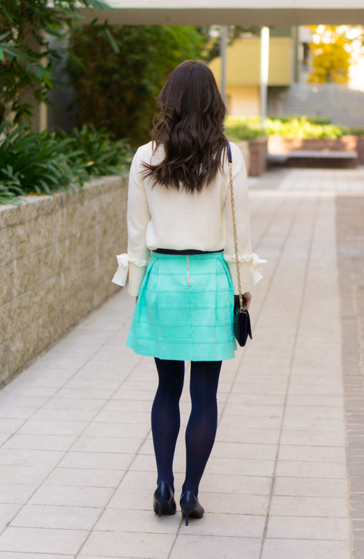 Holiday Outfit Ideas | 5 outfit ideas casual to formal holiday celebrations | Christmas Day outfit | Mint green flare skirt | Talbots tie-cuff boatneck sweater bow sweater review | Talbots Hermes horsebit belt | opaque tights | Anthropologie green jeans | LOFT burgundy corduroy pants | petite fashion and style blog