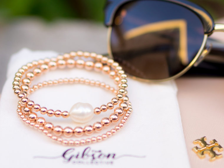 The Gibson Collective bracelet review | Custom bracelet stacks | Bracelet to fit petite wrists | Beads & Pearls bracelet | Empowering jewelry | Stefani Greenspan designer founder | Little Lady Gibson kids bracelet stacks | resilience Tory Burch wallet clutch | Tory Burch polarized sunglasses | Paige teal green denim jeans