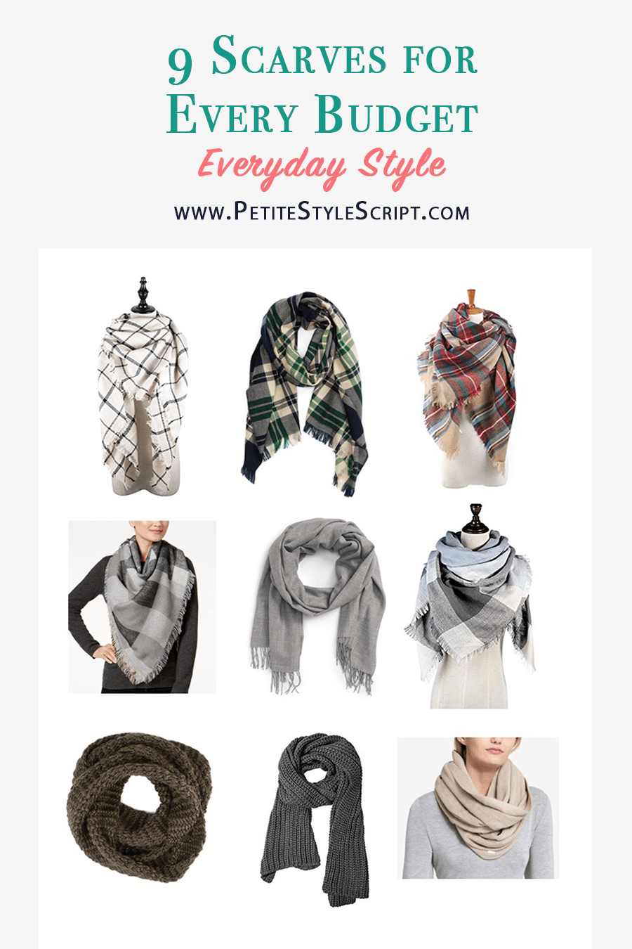 9 affordable scarf options, How to Style Winter Scarves | How to style blanket scarves | scarf tutorial video | Infinity scarf review | Krochet kids | Nordstrom tissue scarf review | Nordstrom Sole Society blanket scarf | plaid windowpane scarf | Banana republic wool camel black scarf | petite fashion and style blog