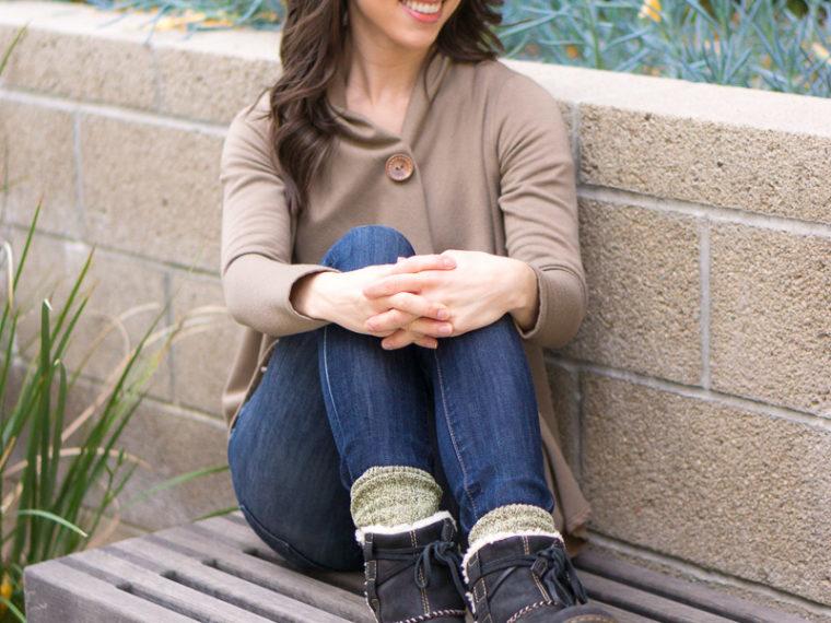 Sheec Winter Socks Review | Sheec Glamsox | Sheec Trousox | Sheec Comfits Review | Best socks for winter | Best show-off socks | Angora wool socks | Plush socks | Valentine's Day socks | St. Patrick's Day Socks | Bobeau fleece wrap cardigan | Ugg boots | Petite Fashion and Style Blog