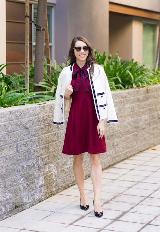 Chanel-inspired blazer | Talbots Provence Tweed Jacket |Chanel-inspired tweed jacket | Ivory blazer | Work outfit inspiration | Petite fashion and style blog | Banana Republic Sloan pants | Ferragamo bow heels | Hermes belt | Tory Burch Gold belt | J. Crew Bow Dress Burgundy